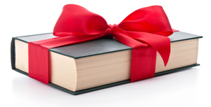 book wrapped in bow